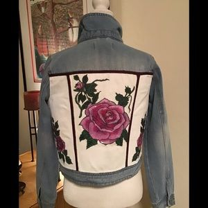 Jacket Jean Hand painted .